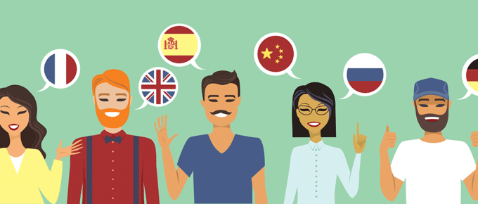 PowerLanguage Illustration Multi Language Speakers